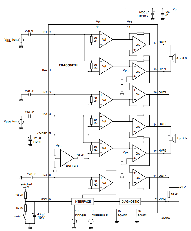amplifiercircuits com  btl amplifier