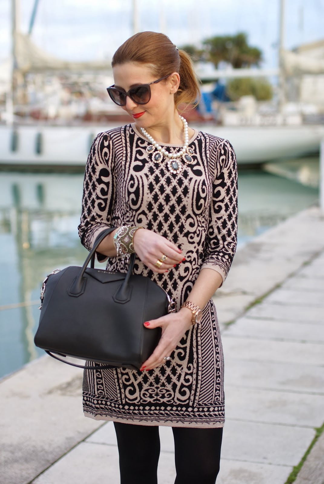 Sweewe baroque print dress, Givenchy Antigona bag, Fashion and Cookies, fashion blogger