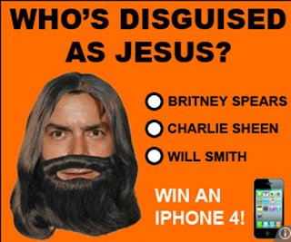 charlie sheen disguised as jesus funny ad