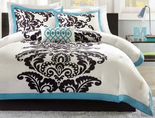 Florentine Teal Modern Comforter Set Full size - Queen size