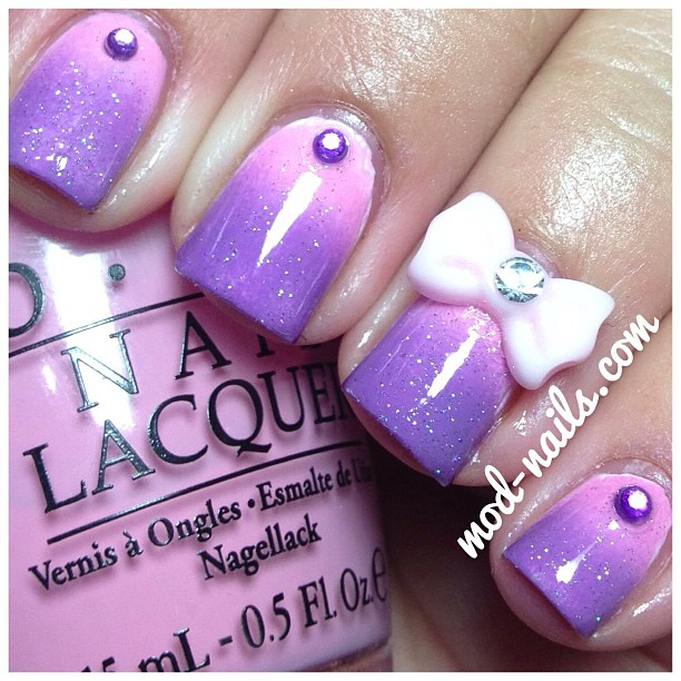 Modnails 3d nail art bow products used opis pink friday opis a grape fit china glazes fairy dust rhinestones from amazon 3d bow from amazon prinsesfo Image collections