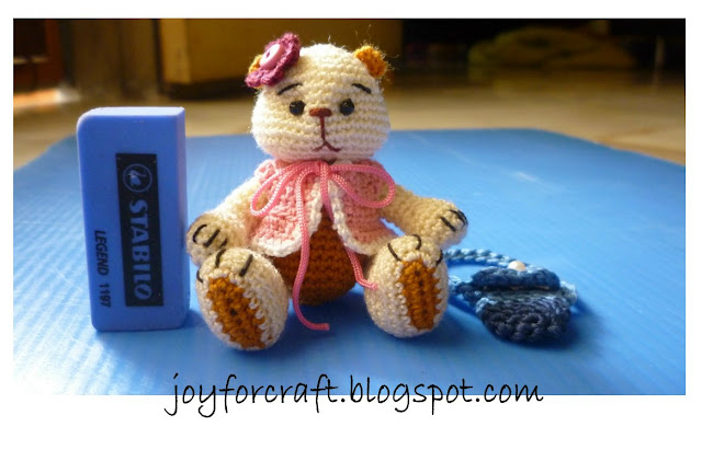 crochet miniature bear thread design pattern cute blouse bag gift