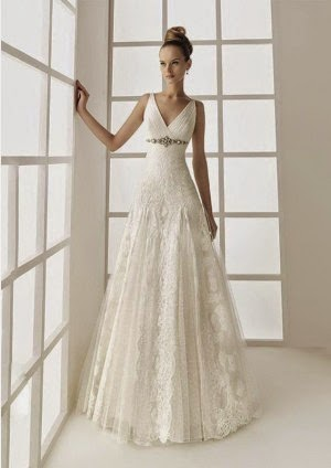 Sleeveless Chapel Train A-line Vintage Wedding Dresses