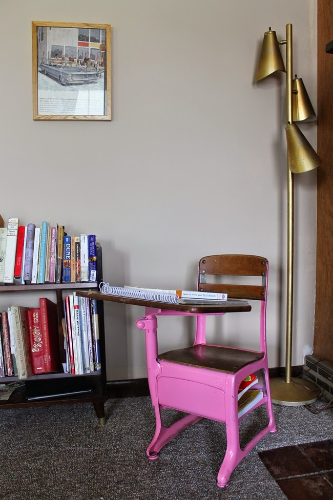 vintage office metal floor lamp and kids desk space