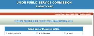 UPSC CAPF Admit card for Asst. Commandant