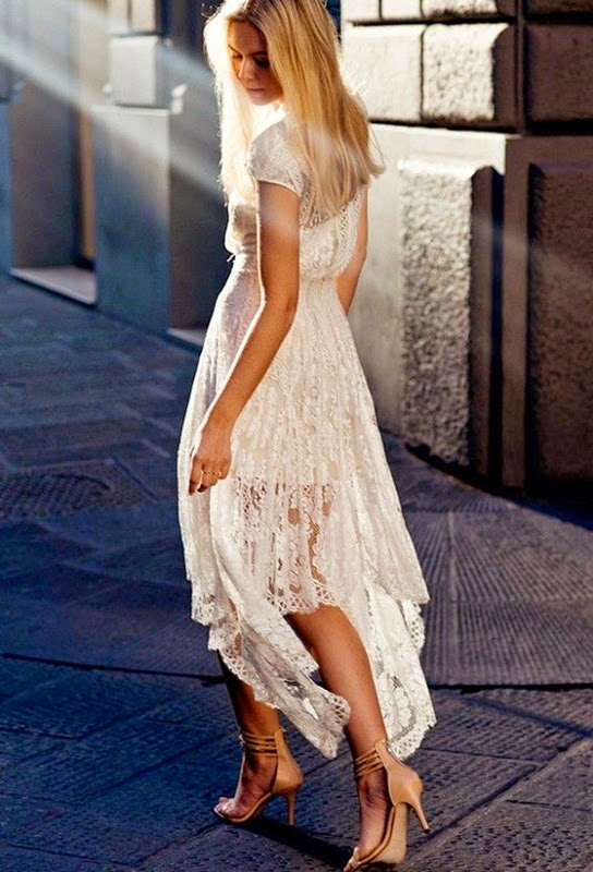 Wearing a Stunning White Lace Dress for Romantic Look