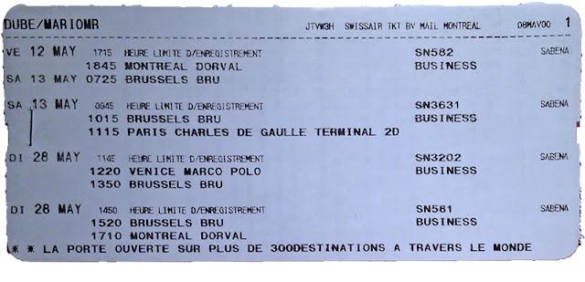Itinéraire de vol en Classe Affaires