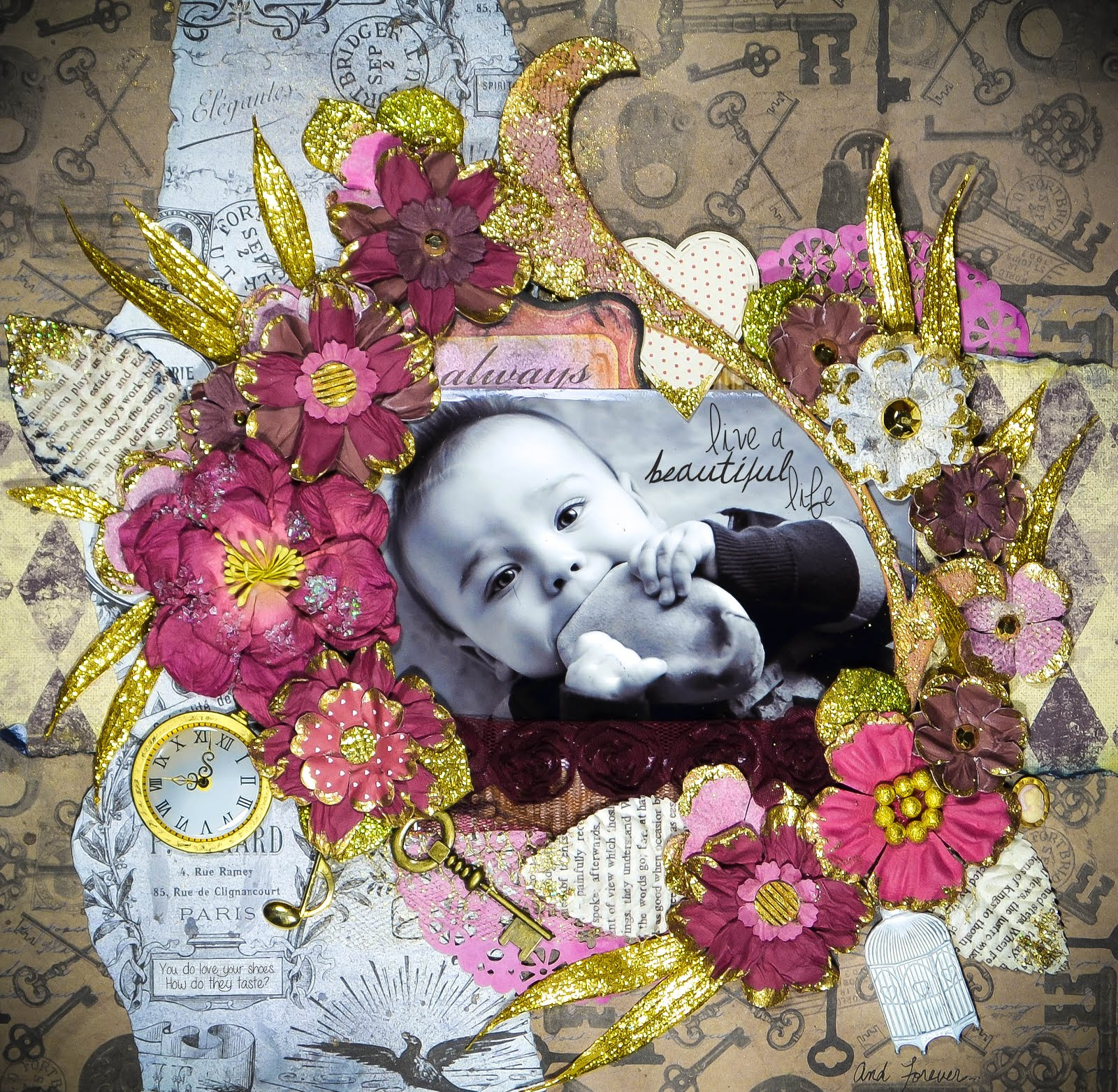 Always live a beautiful life layout dear zae scrapbooking blog always live a beautiful life scrapbook page layout with handmade cloisonne flowers in pink and gold izmirmasajfo
