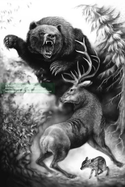 orso cervo disegno