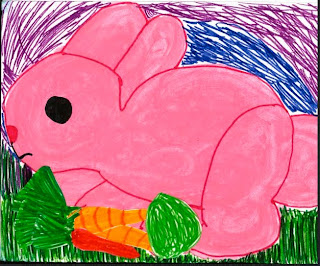 Photo of a drawing of a pink rabbit from Mikaila to Chloe