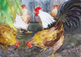 Beautiful Farm Animal Watercolor Painting on paper  size 29.5 x 42 cm