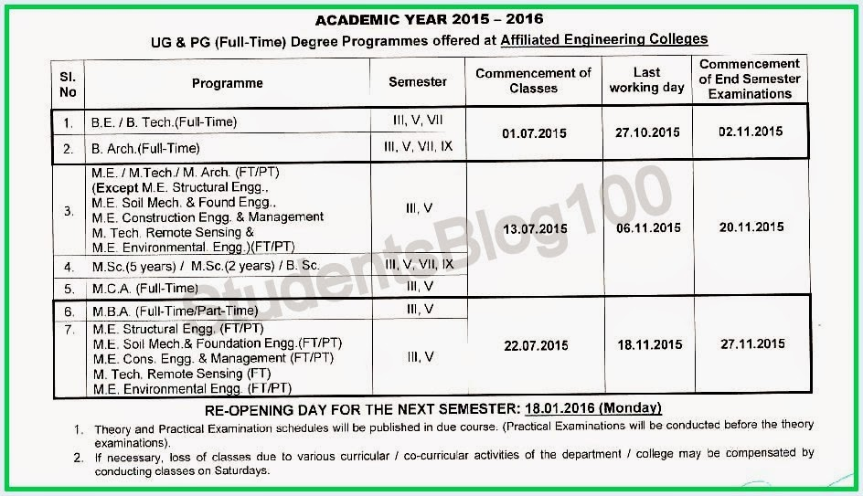 Anna university academic year 2015 odd semester reopening date 3rd