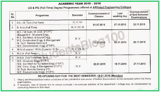 ANNA UNIVERSITY ACADEMIC YEAR 2015 ODD SEMESTER REOPENING DATE