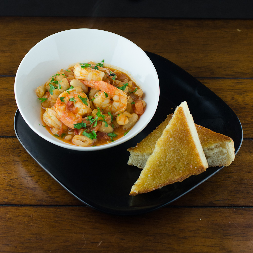 Cooking By Moonlight: Shrimp with Tomatoes and White Beans