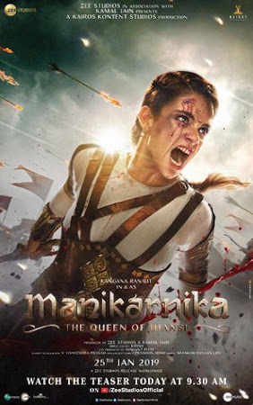 Poster Of Bollywood Movie Manikarnika: The Queen of Jhansi 2019 300MB Pdvd Full Hindi Movie