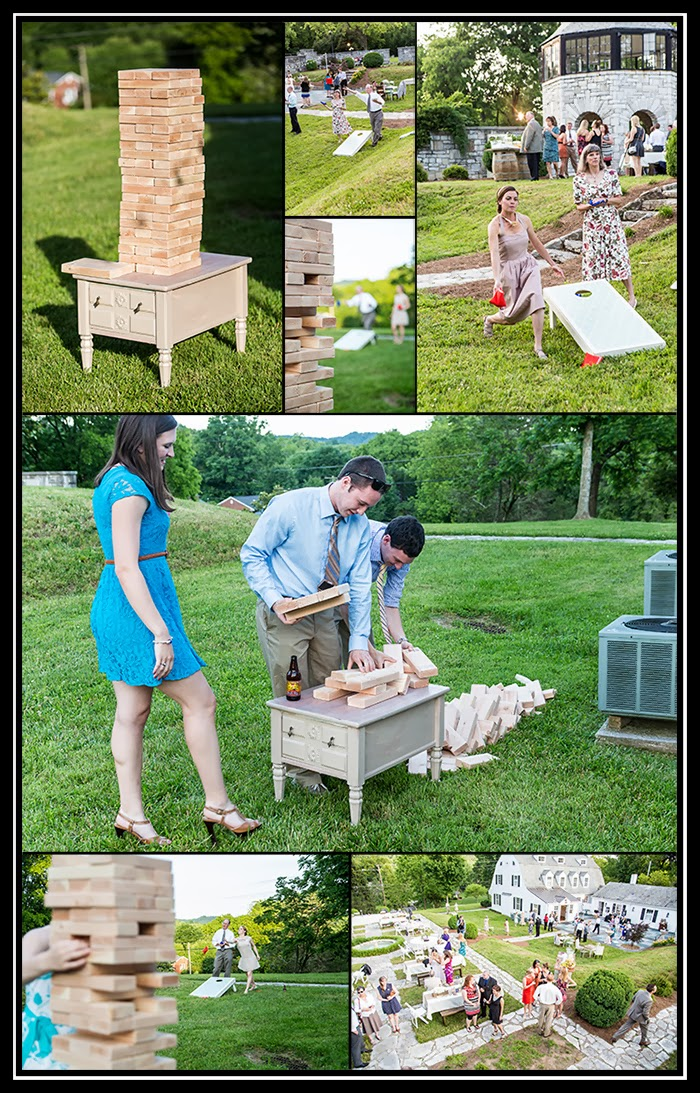 photograph of handmade cornhole set, life-size jenga, wedding guests playing at reception