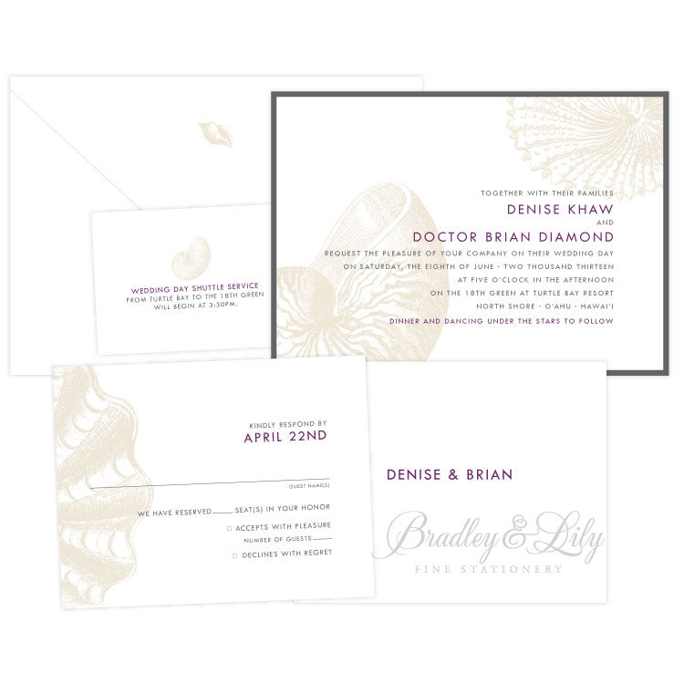 Seashell Wedding Invitation Suite Bradley Lily Fine Stationery