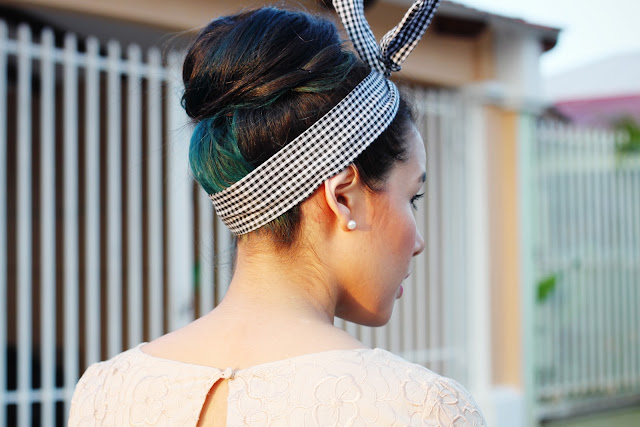 Hair bun with green underlayer