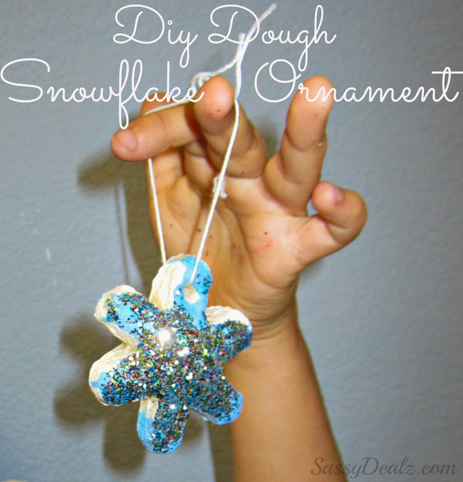 Dough snowflake glitter ornaments christmas craft for for Glitter crafts for kids