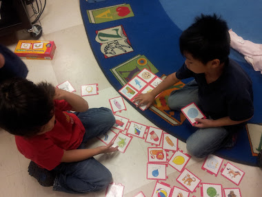 Matching words with the same beginning sounds in Word Work