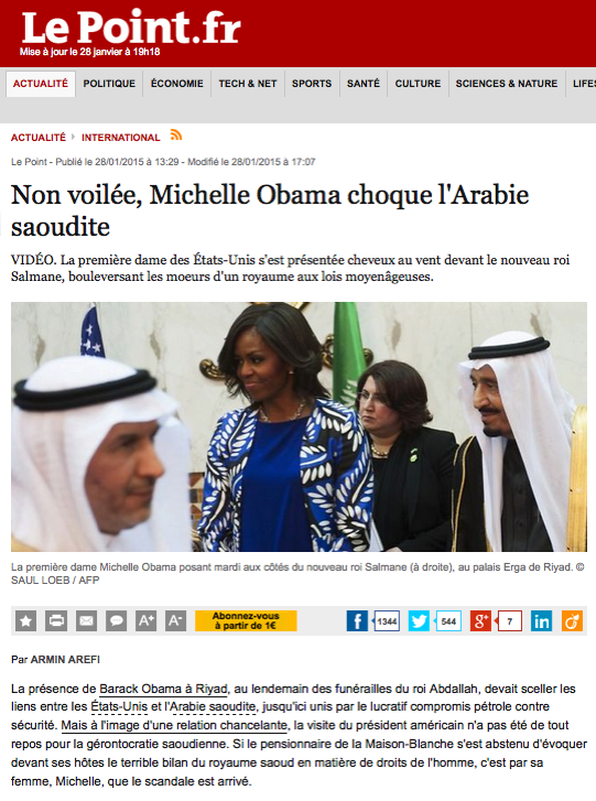 http://www.lepoint.fr/monde/non-voilee-michelle-obama-choque-l-arabie-saoudite-28-01-2015-1900309_24.php
