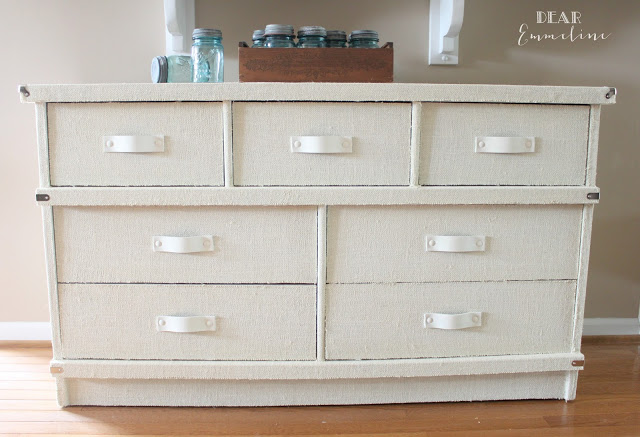Cool steamer trunk styled dresser by Dear Emmeline, featured on I Love That Junk