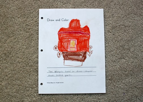 Tessa drew a picture of a yurt for her draw and color. I thought it would have been fun to craft a little felt yurt for her Playmobil people, but I couldn't find a pattern.
