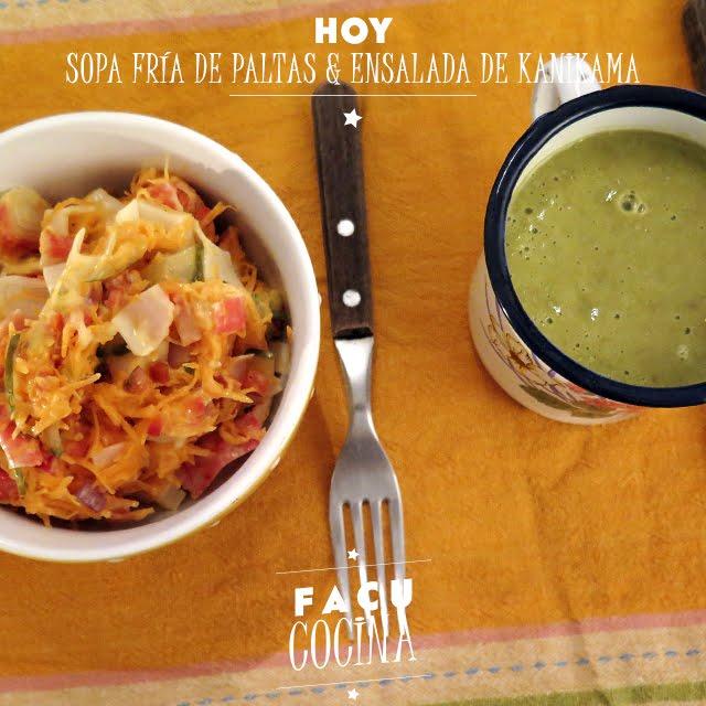 Sopa fría de palta & ensalada de kanikama