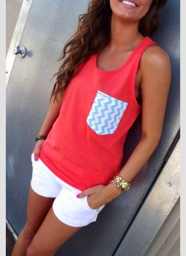 Singlet With Patterned Pocket And White Shorts