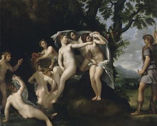 'Diana y Acteón'(1625-1630)óleo del maestro Francesco Albani tomado de http://nihilnovum.wordpress.com