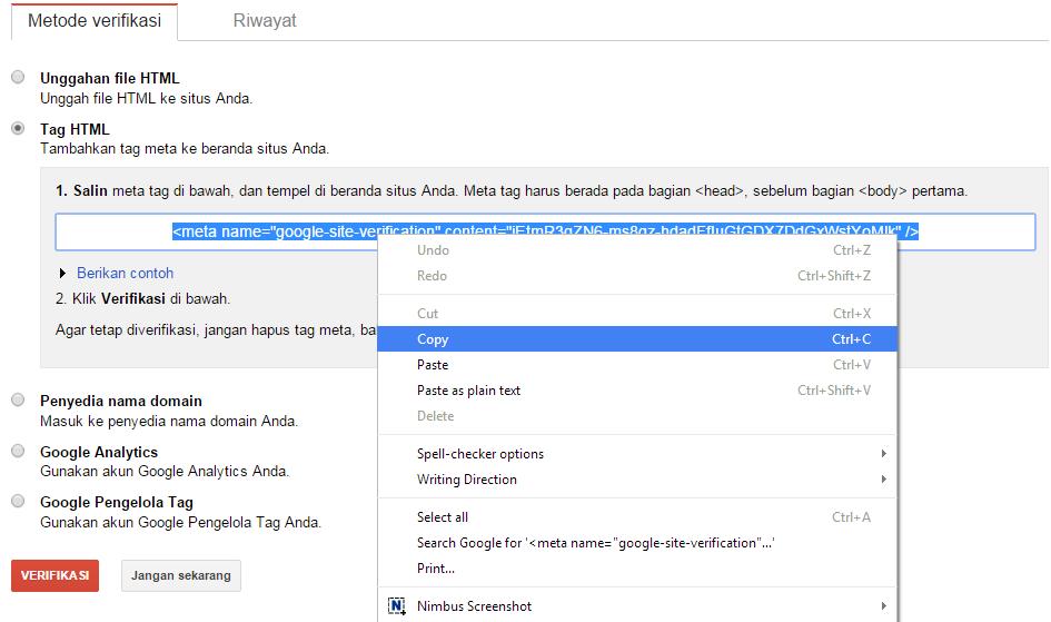 Cara mendaftarkan blog/ website di Google Webmaster 6