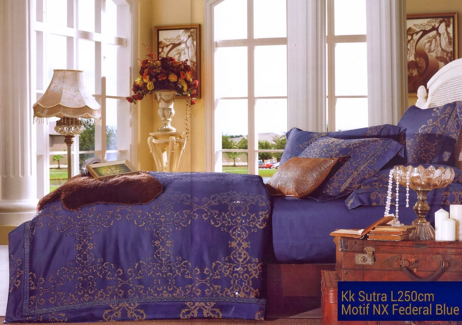 Sprei King Koil Sutra Motif Federal Blue
