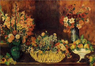 Pierre-Auguste Renoir - Still life with flowers and fruit, 1890