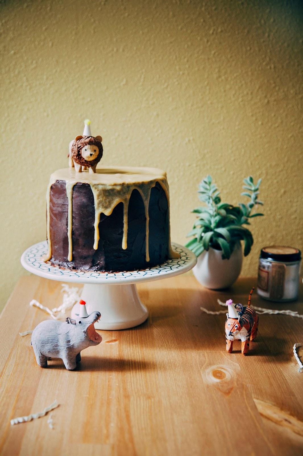 Boozy Yellow Birthday Cake with Chocolate Frosting and Caramelized White Chocolate Ganache