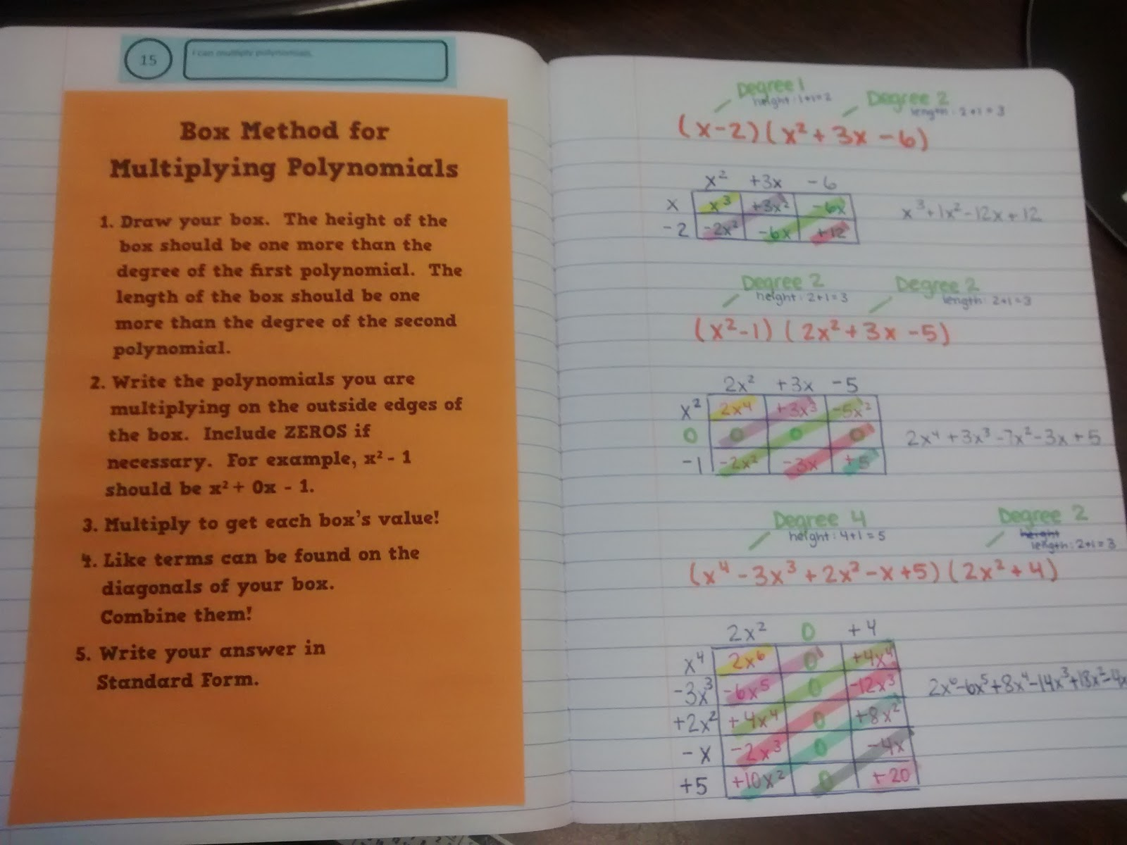 Math Love Multiplying Polynomials Using the Box Method – Multiplying a Polynomial by a Monomial Worksheet