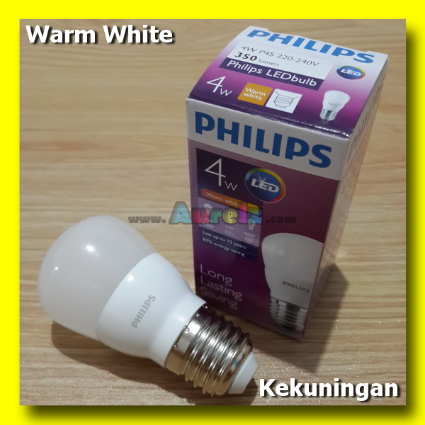 lampu led philips 4 watt warm white