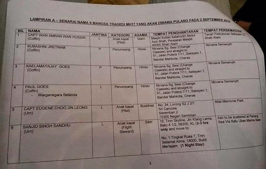 Senarai jenazah mangsa MH 17 yang akan tiba esok 2 9 2014