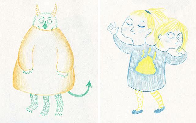 Mar Villar - Dibujos a dos colores, monstruo, niña de dos cabezas