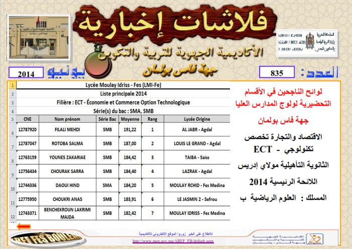 لوائح الناجحين في الأقسام التحضيرية لولوج المدارس العليا بجهة فاس بولمان