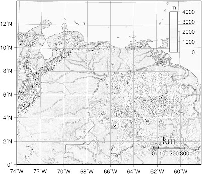 Mapa topográfico de VENEZUELA, (wikipedia), blanco y negro