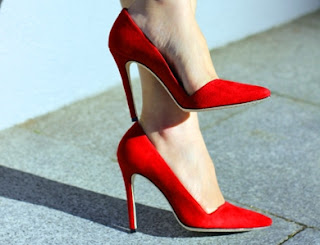 Alice & Olivia Red Dina Suede Pumps