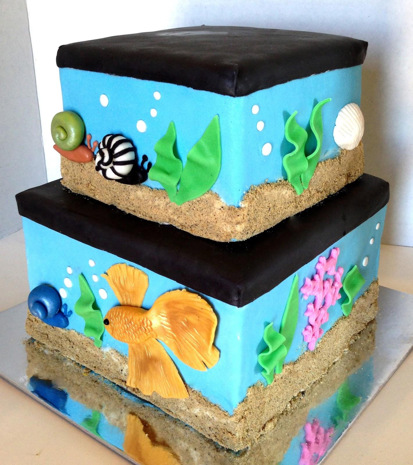 The cake market aquarium cake for Fish tank cake designs