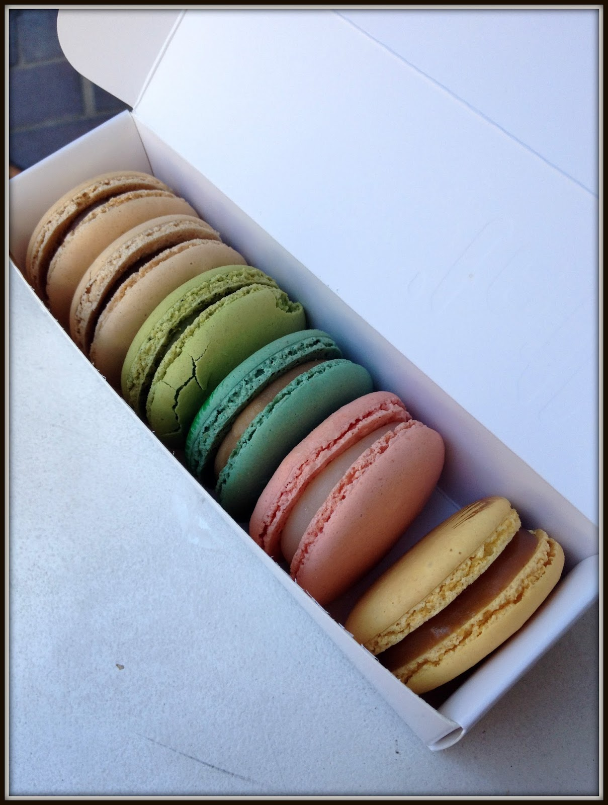 Lette Macarons --- From left to right: Hazelnut, columbian coffee, pistachio, earl grey, rose, passion fruit