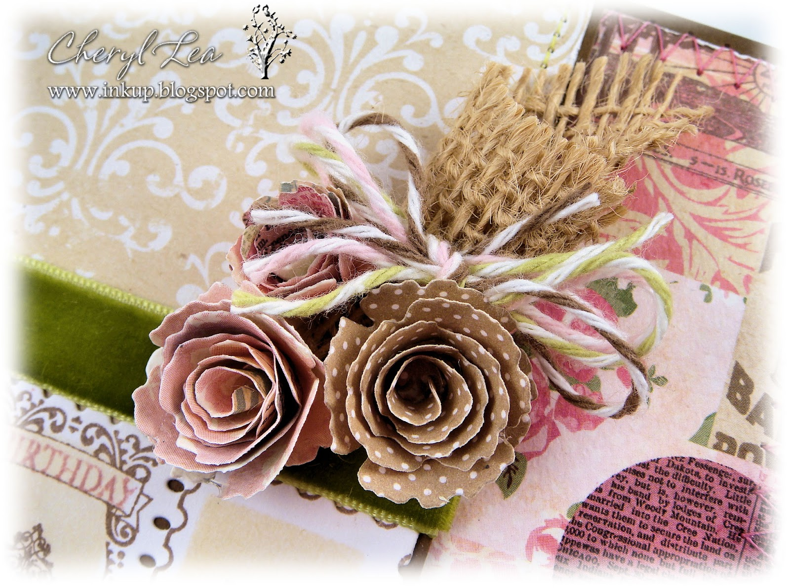 Ink up birthday wishes i used the die namics mini royal roses dies for the flowers the burlap was scrap from another project i just rolled it into a cone and stapled it together izmirmasajfo Choice Image