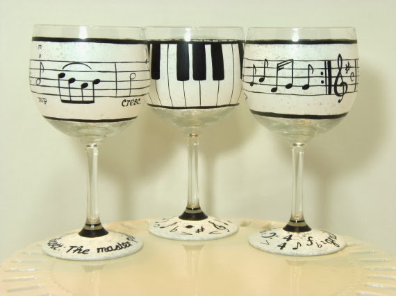 Music Lovers painted wine glasses