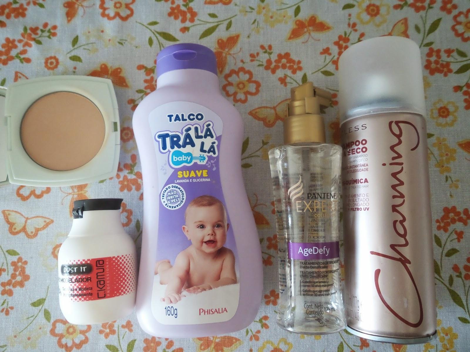 Combate a oleosidade e dá volume: Pó Compacto Renew FPS 15 Avon:   Pó Modelador  C.Kamura  Dust It,   Talco,  Shampoo seco Cless Charming