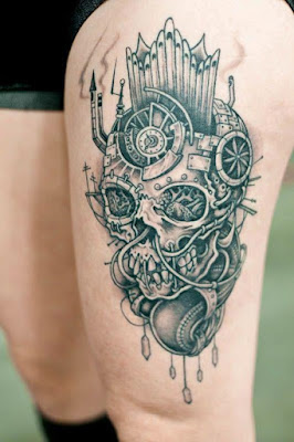 Amazing Leg Skull Tattoo for Women