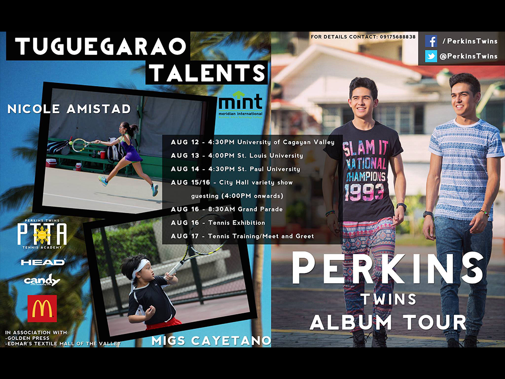 Perkins Twins Tennis Academy offers FIRST EVER tennis exhibition and free tennis training in Tuguegarao, Cagayan