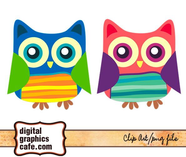 pink and blue owl graphics