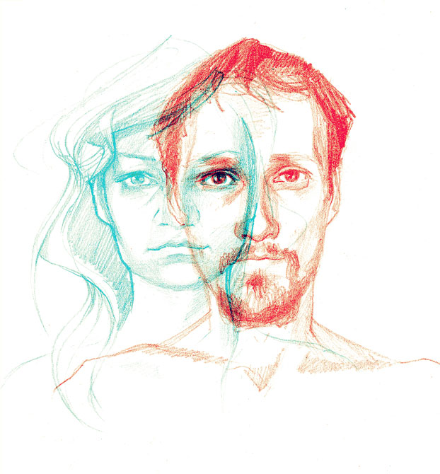 ilustracja czerwono niebieska niebiesko czerwona zimne ciepłe kolory relacje para krzysztof budziejewski urbaniak grafika na koszulki illustration couple in double colours emotions sketches